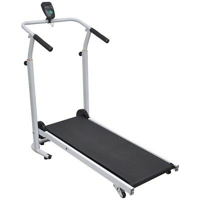 Folding Manual Treadmill Running Machine Cardio Fitness Exercise Incline Black