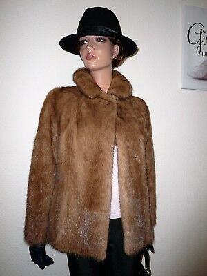 Genuine Vintage Real Mink Fur Jacket Coat Sable Hue Норка Nerz Visone 6 - 8 - 10
