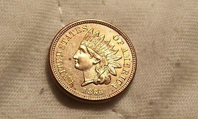 1860 Indian Head Cent:Full Strike-Smooth&Lusterous Surfaces-4 Bold Diamonds-Bu++