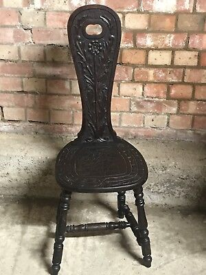 A Georgian Carved Oak Stool Chair on Four Turned Legs