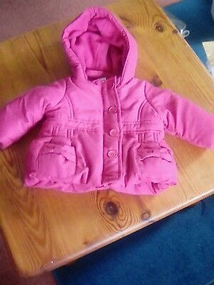 Girls pink hooded coat size 3-6 mths