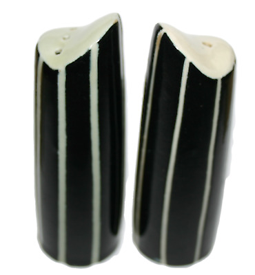 Chekaleke Cruet Salt & Pepper Set 1950S Black Striped Design Vintage Rare