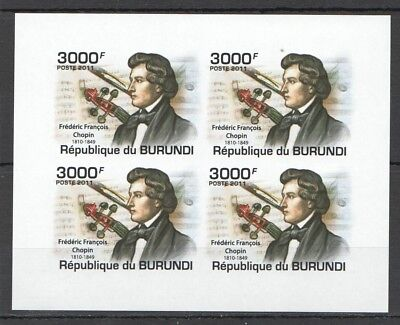 E2 !!! Imperforate 2011 Burundi Music Compositeurs Frederic Chopin 1Kb Mnh