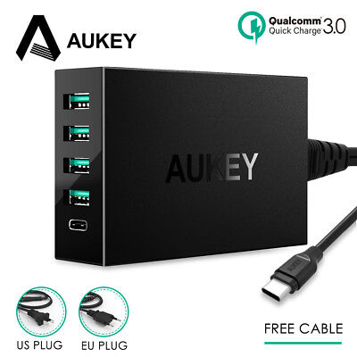 Type C Charger AUKEY 54W USB Desktop Quick Charge 3.0 Phone Smart Fast Charger