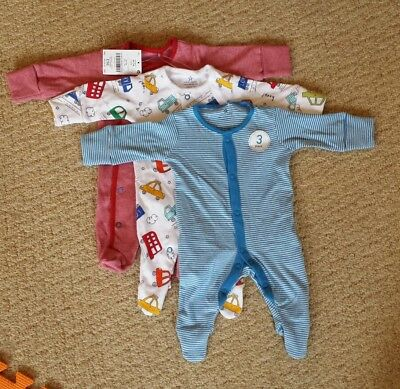 BNWT Next 3 pack baby boy sleepsuits - First size