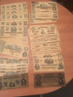 Estate Collection of 81 FACSIMILE Confederate Notes ranging from $1-$1,000