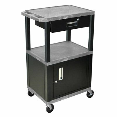 Luxor Open Shelf Cart with Locking Drawer and Cabinet, Gray, 1 Drawer
