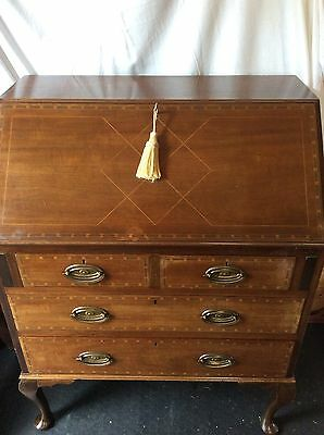 bureau Mahogany Inlaid with Key And Working Lock good condition