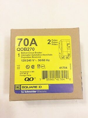 NIB NEW SQUARE D QOB270 70A 2P Bolt-on Circuit Breaker BEST PRICE! FREE SHIP