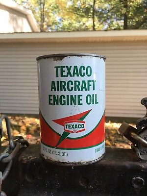 Texaco Vintage Aircraft Engine Oil Can Full