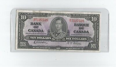 "1937 Ten Dollar Bank Note From Canada "" Dealer Graded Au ""  Bv $ 85.00"