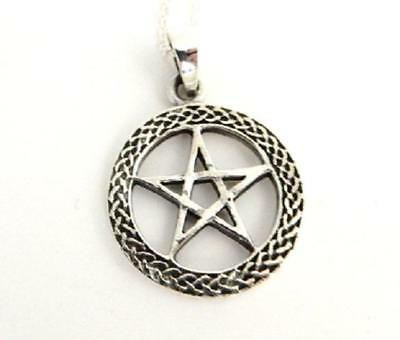 Celtic Pentagram in Circle pendant necklace chunky sterling silver .925 pagan