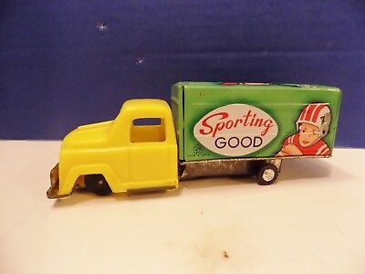 """Vintage Japan Tin Friction """"Sporting Good"""" Delivery Truck Toy Near Mint"""