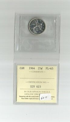 "1964 Silver Quarter From Canada Graded By Iccs    ""pl-65  ""   Nice Coin"