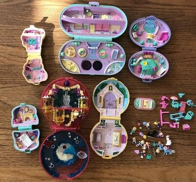 Vtg LOT BLUEBIRD POLLY POCKET 6 Compacts Church Castle 33 Pieces/Dolls 1989-90's