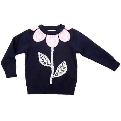 Little Girl's Pink and Navy Flower Sweater- Winter-Fall-Floral-NWT