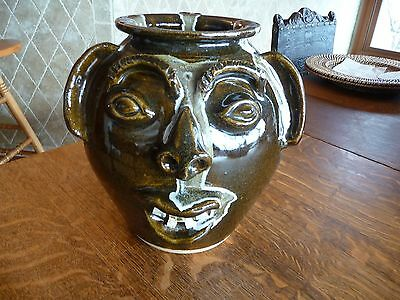 """Incredible Charles Lisk, Vale, NC-Catawba Valley- Pottery Face Bean Pot -  9"""""""