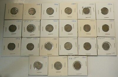Great Britain 1947 to 1967 Date Set Lot of 21 6 Pence Coins  Some are Unc #G7870