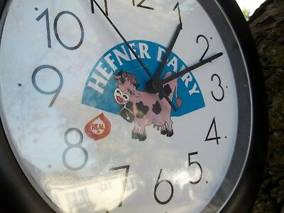 Vintage, Hefner Dairy Clock * Jersey Cow W / Cowbell,  Red Lipstick * Lima, Ohio