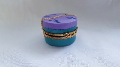 Light Blue and Purple Limoges Trinket Box With Hat
