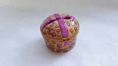Gold And Pink Limoges Trinket Box With Hat