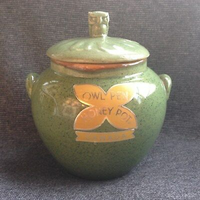 Ceramic 1940s Owl Pen Honey Pot / Jug - Ecanada - designed by Lucille Oille