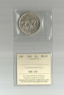 """1961 Silver Dollar From Canada Graded By Iccs    """" Ms-63 """"   Nice Coin"""