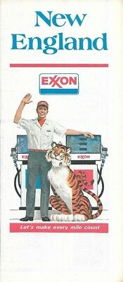 1977 EXXON Tiger Road Map NEW ENGLAND Massachusetts Connecticut Maine Providence