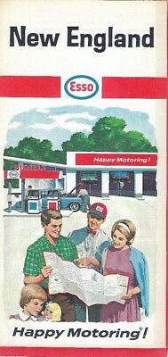 1966 ESSO HUMBLE OIL Road Map NEW ENGLAND Massachusetts Connecticut Maine Boston