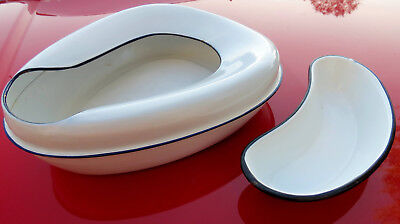 Antique Vintage White Metal Bed Pan  & Emesis Basin