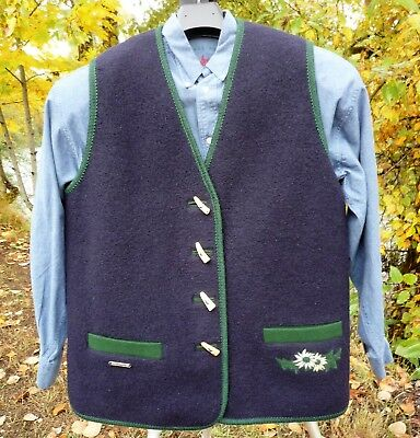 "Steinbock Boiled Wool Vest 12Usa Tyrol Austria 45""bust Horn Toggles Blue & Green"