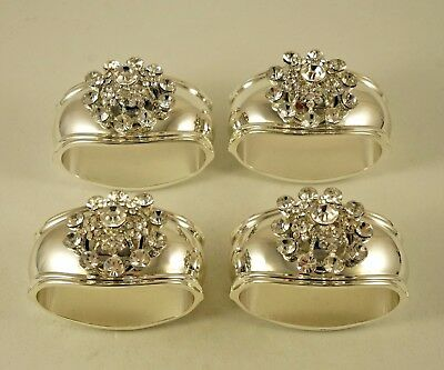 New Hans Turnwald Snowflake Silver Plated Jeweled Four Napkin Rings