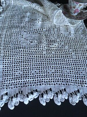 Vintage White Cotton Filet Crocheted Lace Cafe Curtain