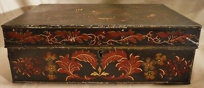 Antique Toleware Tin Box Hand Painted 19th Century Pennsylvania German Victorian