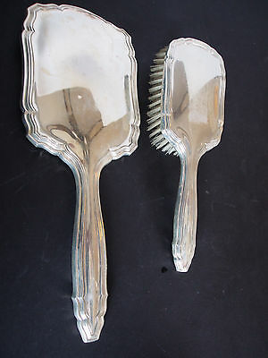 Antique Art Deco Continental Silver A835 Brush Beveled Mirror Vanity Set Dresser