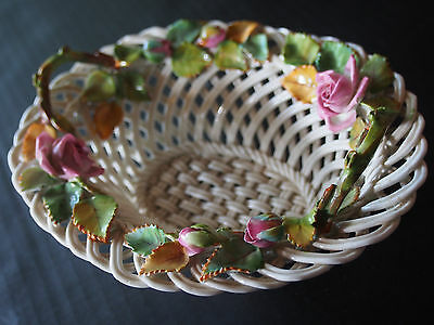 Vtg Antique Crown Staffordshire Woven Encrusted Roses Handled Porcelain Basket
