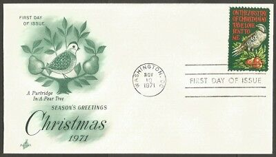Us Fdc 1971 On The First Day Of Christmas My True Love Sent To Me 8C Stamp
