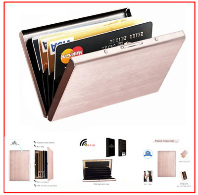 RFID Blocking Wallet for Men and Women Secure Protection Slim Wallet Rose Gold