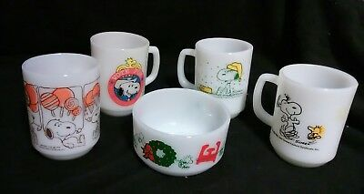 Vintage Snoopy Fire King Coffee Mugs Dish Set Anchor Hocking Milk Glass Peanuts