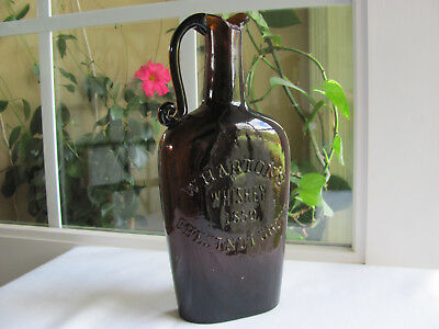 Wharton's Whiskey 1850. Chestnut Grove Handled Whiskey Jug Whitney Glass Works
