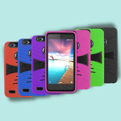new style e4e96 5906f FOR METRO PCS ZTE Blade Z Max / Z982 Rugged Armor Hybrid Kickstand Cover  Case
