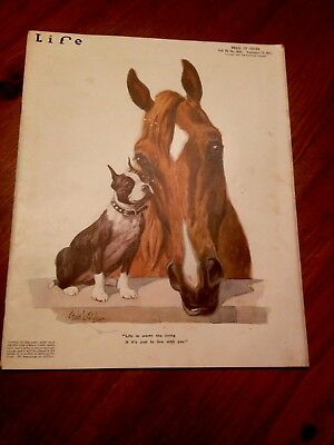 Vintage Life Magazine with Boston Terrier on Cover- 1917