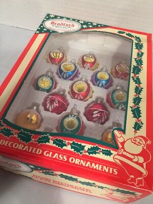 Box of 13 Vintage Indent Stenciled Glass Christmas Ornaments Small 1 1/2""