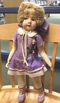 """PRE 1930's CLOTH FRENCH 'RAYNAL' LARGE 21"""" DOLL WITH AGE SPOTS - SOLD AS IS"""
