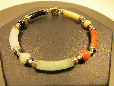 Sterling Silver Jewelry Failed Magnet Test Colorful Stone Link Bracelet