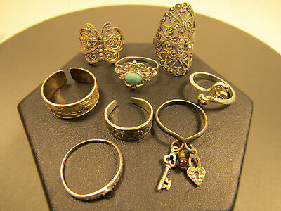Sterling Silver Jewelry Ring Lot Scrolled Filigree Butterfly Marcasite