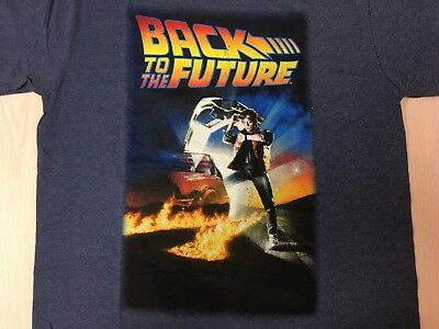 Back to the Future Poster Vintage Style Distressed T-Shirt Navy Blue Licensed