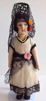 "Spanish Ethnic Cloth Doll 12"" Painted Face Vintage Antique Made Spain Lenci Type"