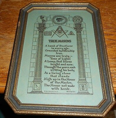 True Masons by H H Fariss Antique Gilt Copy Framed