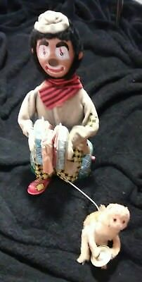 Vintage Alps Clown Accordion Monkey Toy Japan Battery